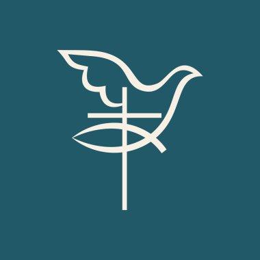 Church logo. Cross, jesus fish, dove, icon stock vector