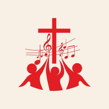 Church logo. Cross, music, music notes, song, choir, people, red