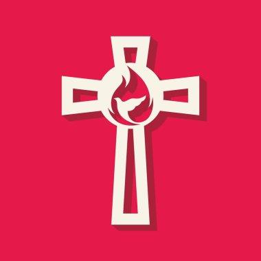 Church logo. Cross, flame, dove, icon