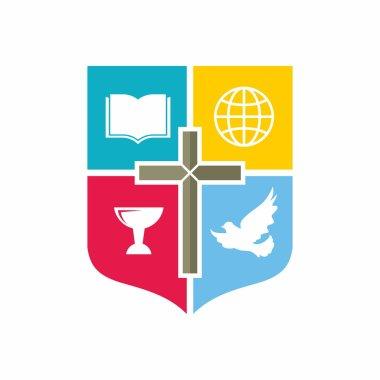 Church logo. Color blocks, chalice, cross, dove, Bible, globe, missions, shield, icon