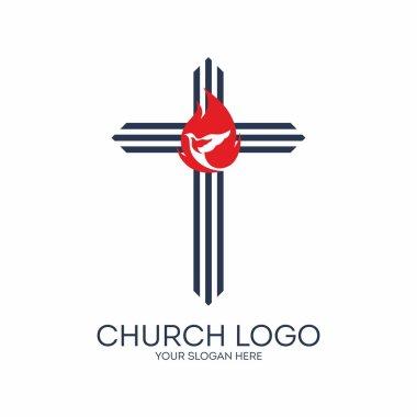 Church logo. Flame, dove, cross, icon