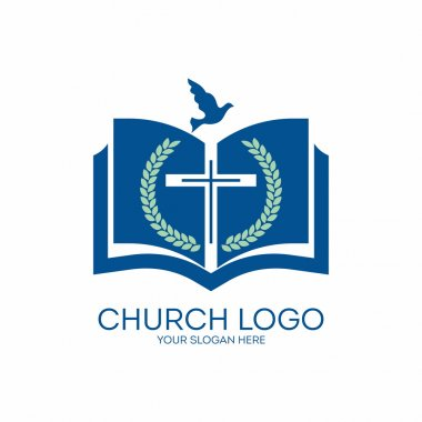 Church logo. Fig, cross, Bible,, pages, dove, icon, blue
