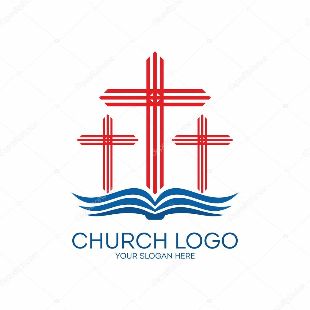 church logo three crosses from the pages of a bible u2014 stock