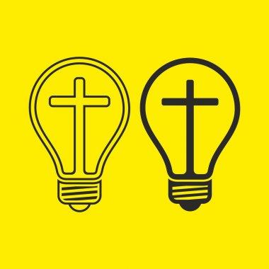 Light bulb with a cross.