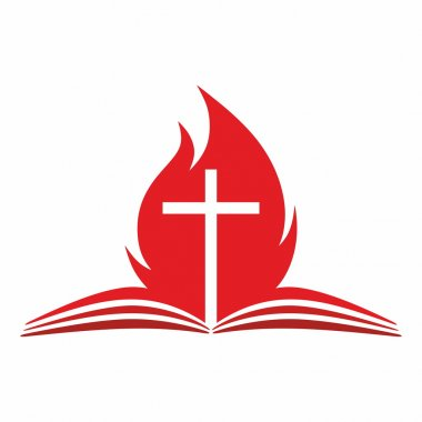 Cross and flame from the pages of a Bible clip art vector