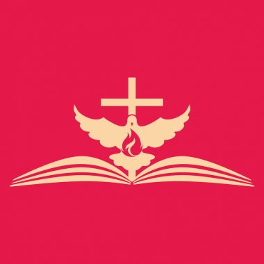 Church logo. Cross, open bible, dove and flame