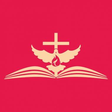 Church logo. Cross, open bible, dove and flame