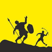Photo David and Goliath. Silhouette, hand drawn