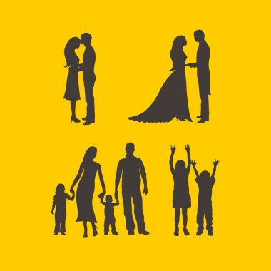 Couples, bride, groom, man, woman, family, silhouettes, mother, father, daughter, son, raised hands, boy, girl, love, parenting, romance, icons stock vector