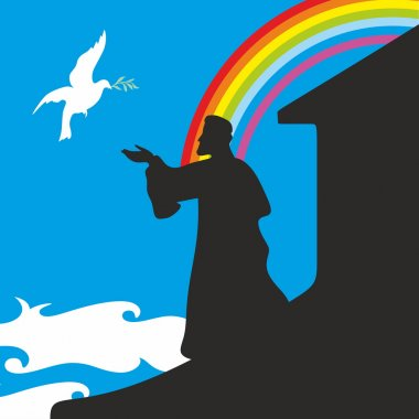 Noah's Ark and rainbow. Silhouette, hand drawn