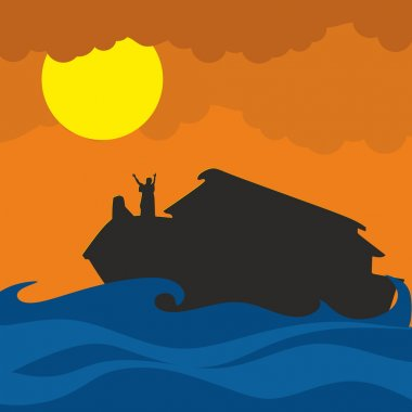 Noah and the ark. Silhouette, hand drawn