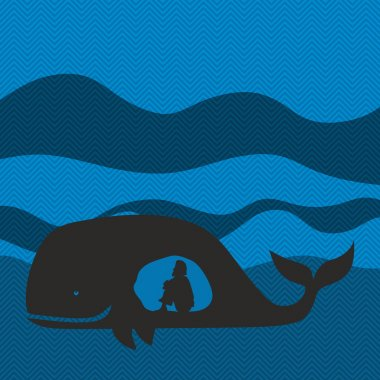Jonah in the whale. Silhouette, hand drawn