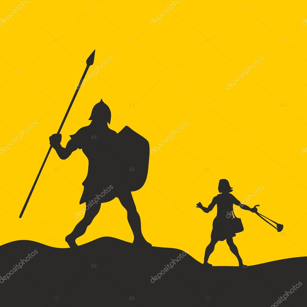 David and goliath silhouette hand drawn stock vector - Immagini di david e golia ...
