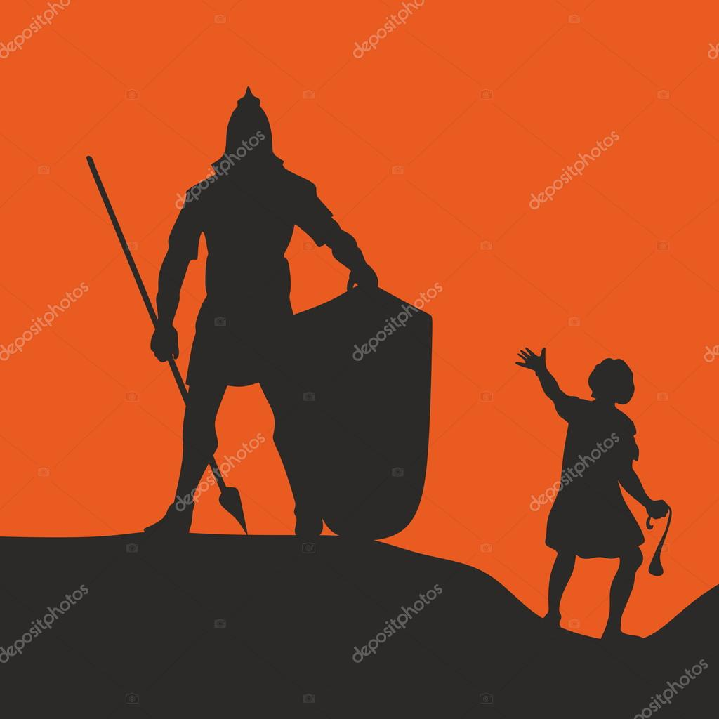 David And Goliath Silhouette Hand Drawn Stock Vector C Biblebox