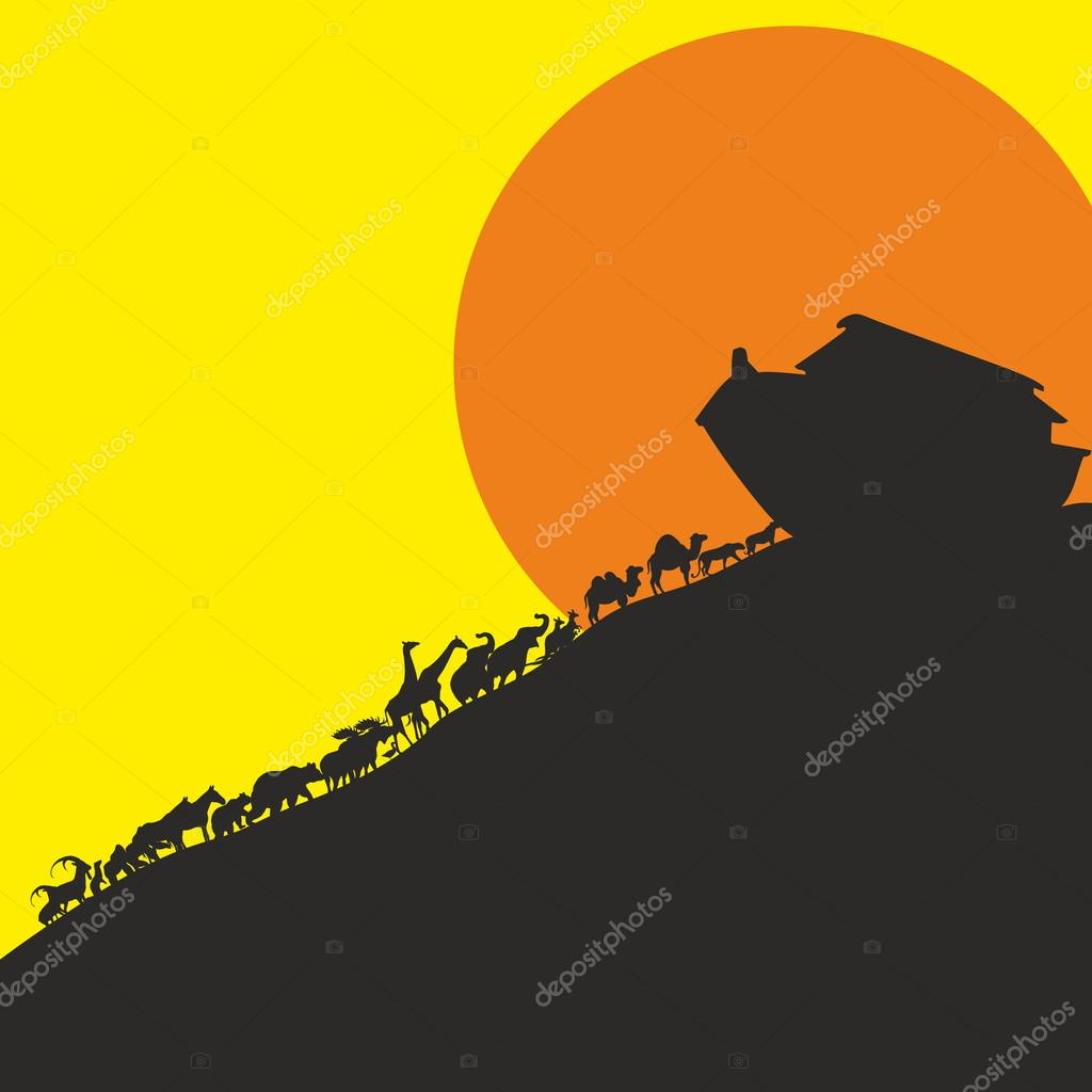 Noah And The Ark And The Animals. Silhouette, Hand Drawn