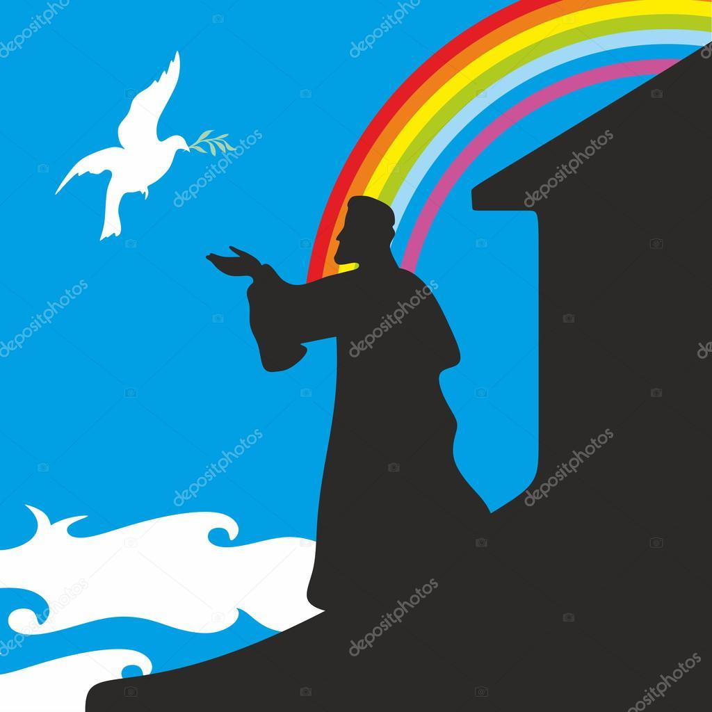 Noah's Ark And Rainbow. Silhouette, Hand Drawn