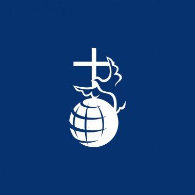Dove, cross, globe, missions, icon