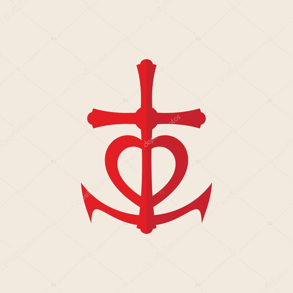 kreuz anker herzen rot symbol stockvektor 88502188. Black Bedroom Furniture Sets. Home Design Ideas