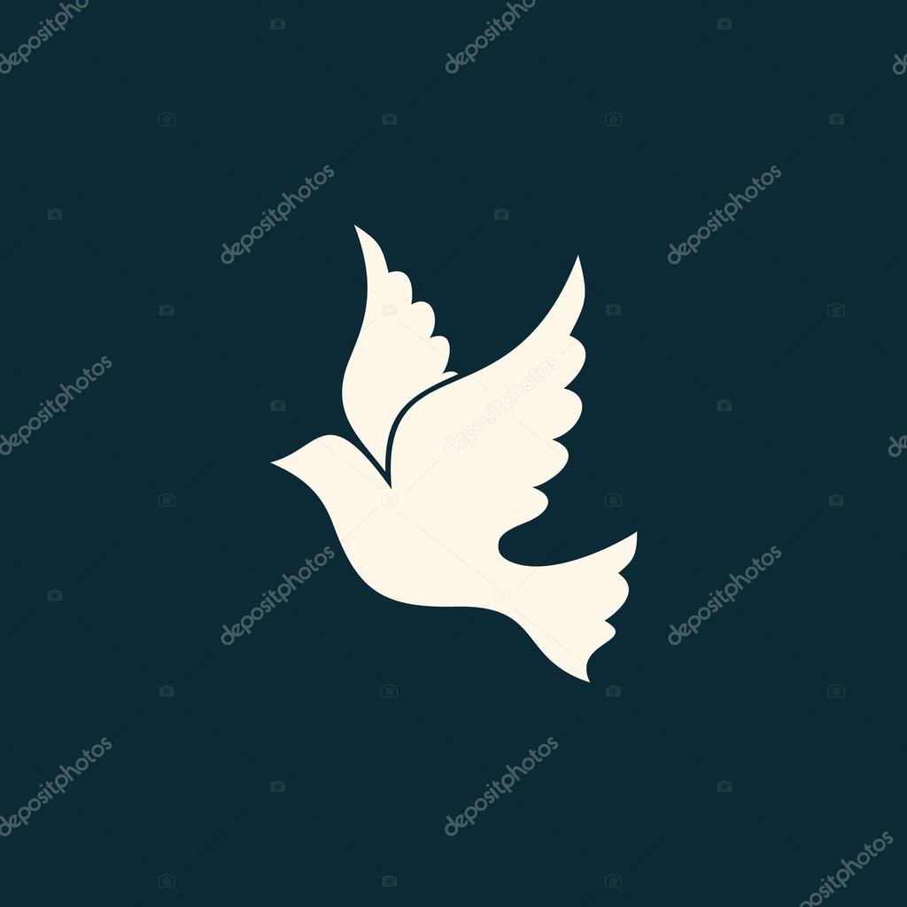 Dove Icon Dove Line Drawing Holy Spirit Stock Vector