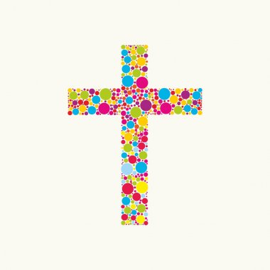 Church logo. Cross consists of colored elements