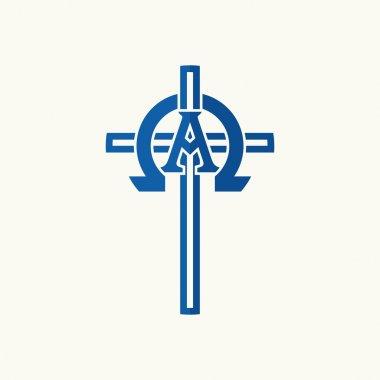 Church logo. Alpha, omega and a cross