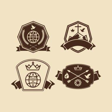 Set of vintage logos Christian church