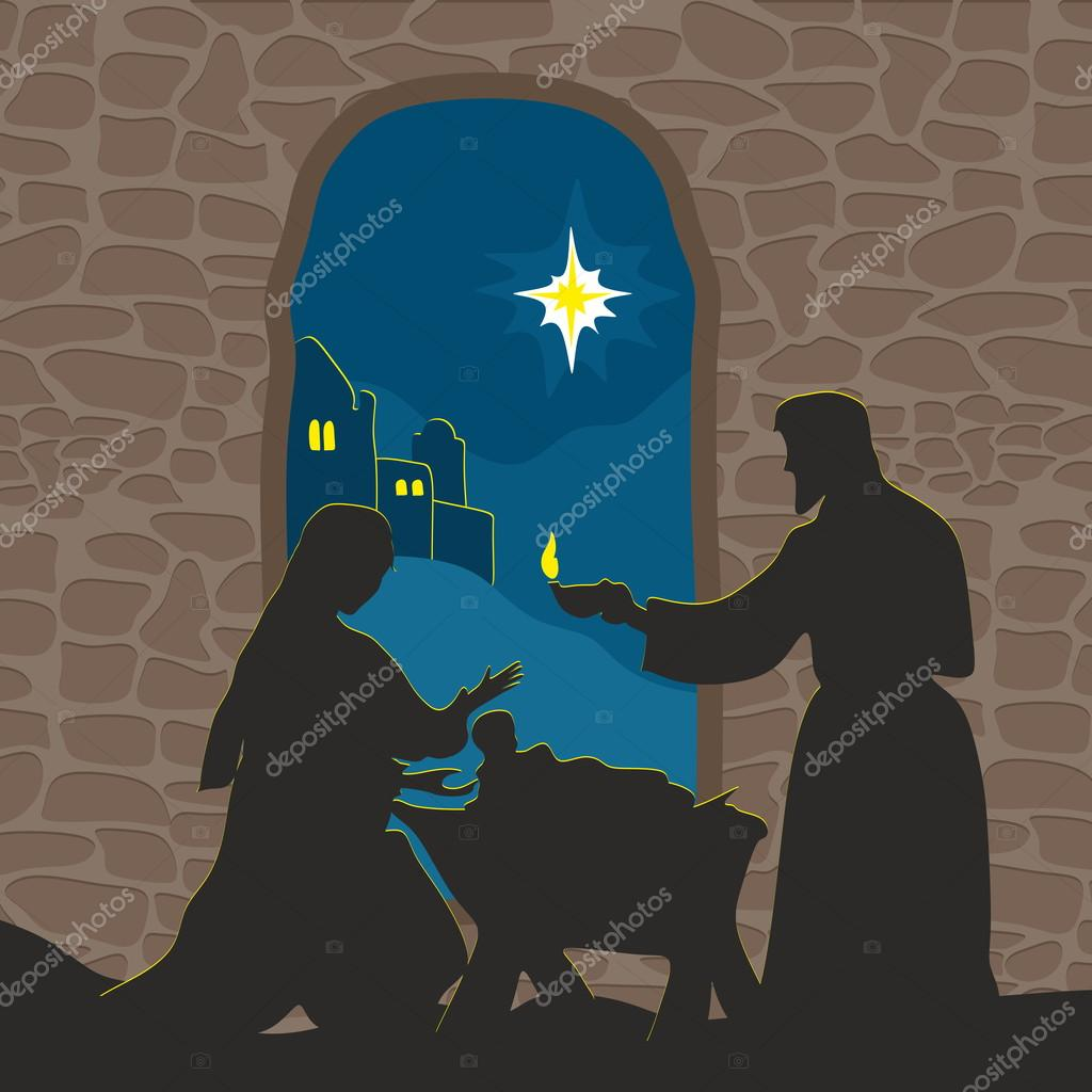 Greeting card with a Christmas story. Mary and Joseph with the baby ...
