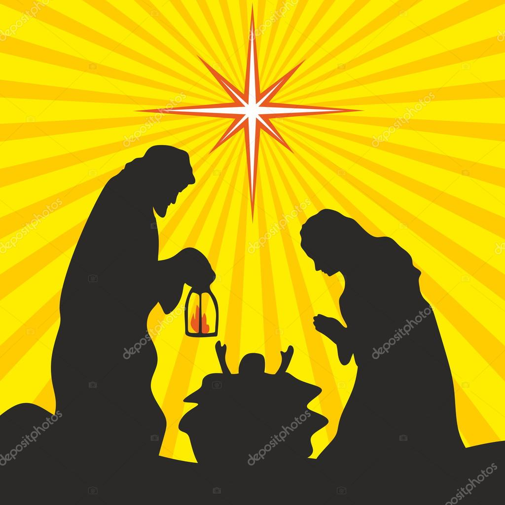 Greeting card with a Christmas story. Mary and Joseph with the