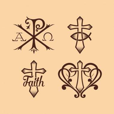 Set of christian symbols and logo