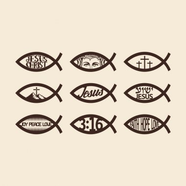 Big set of Jesus fish