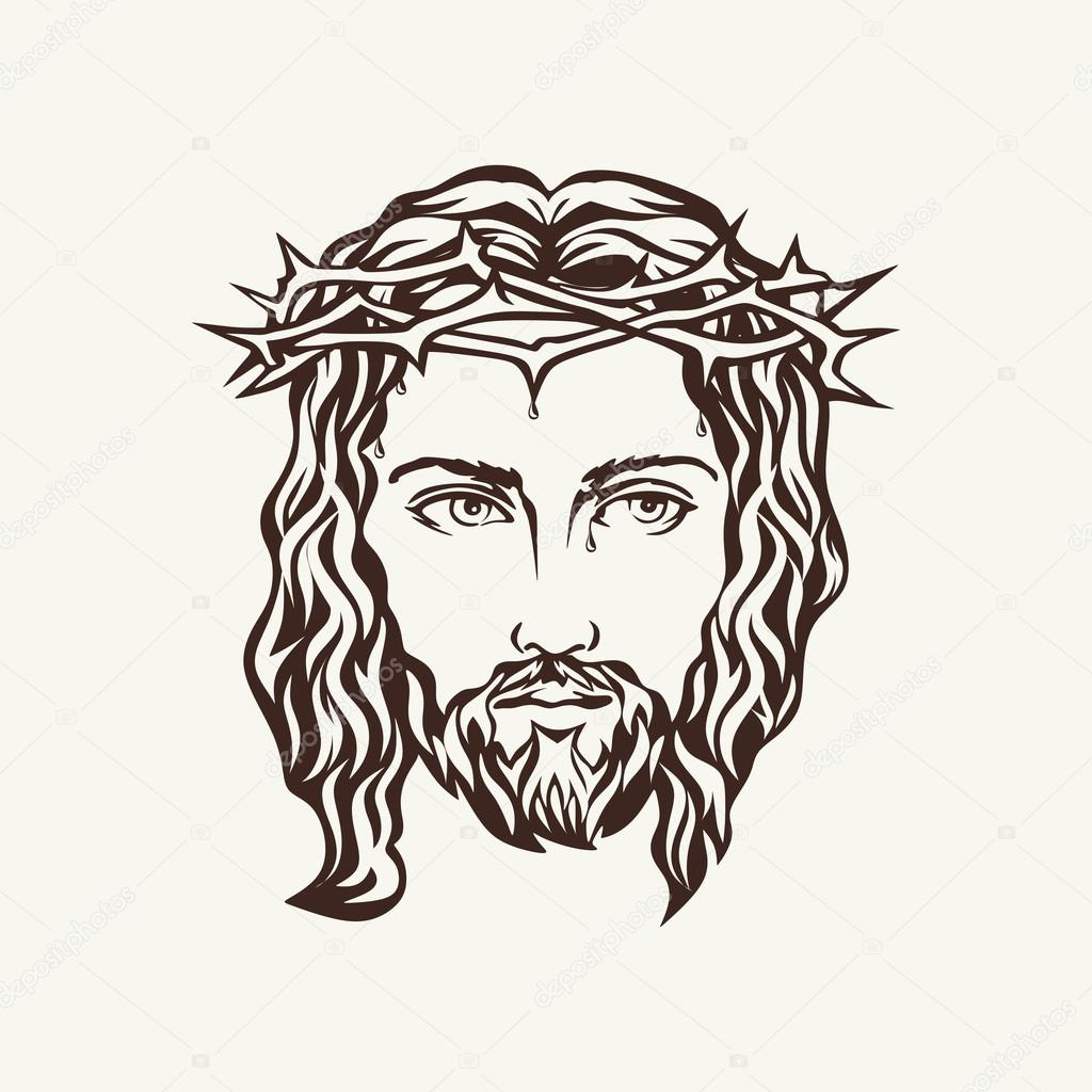 Line Drawing Of Jesus Face : Face of jesus hand drawn — stock vector biblebox