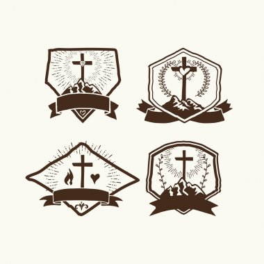 Christian logos set. Church logo.