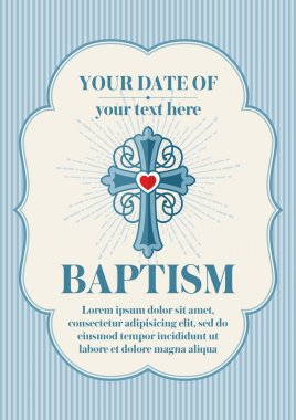 Postcard Christian baptism. Invitation, congratulation, certificate.