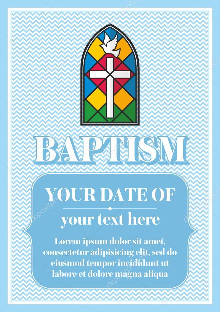 Postkarte Die Christliche Taufe. Einladung, Gratulation, Zertifikat U2014  Vektor Von Biblebox