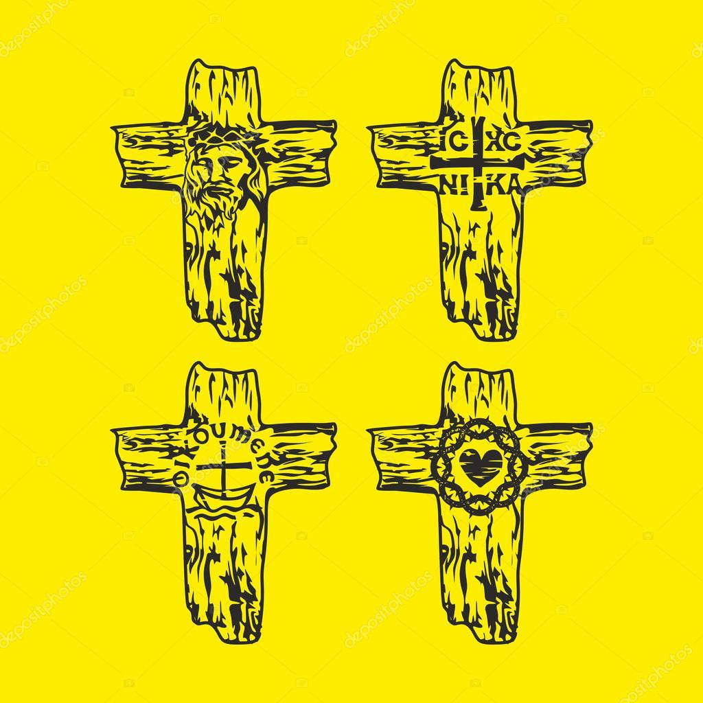 Set of crosses  Jesus, God, Trinity, Crown of thorns