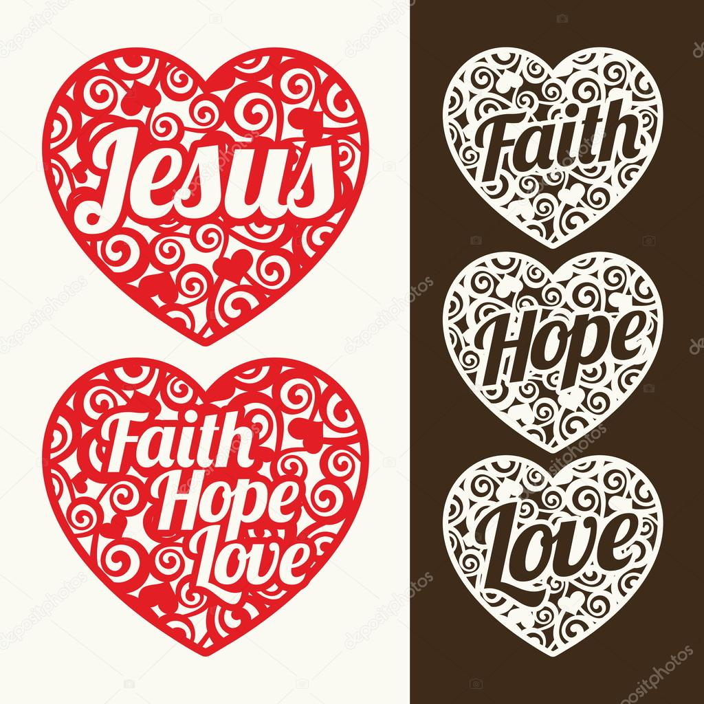 Hearts And Words Jesus Hope Faith And Love Vector By Biblebox
