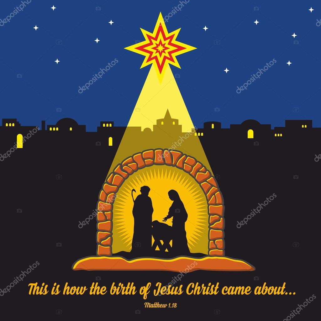 Escena de la Natividad. Navidad. Belén. María, José y Jesús pequeño ...