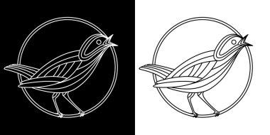 Vector Illustration of Singing nightingale bird