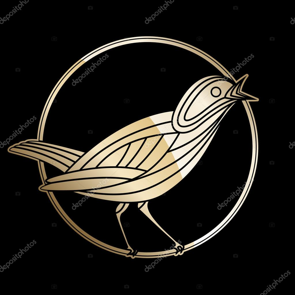 Vector Illustration of Singing nightingale bird