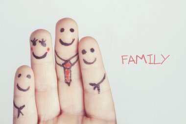 Fingers forming a happy family