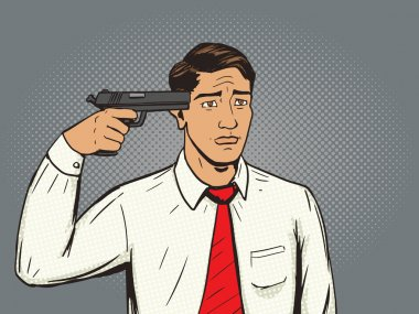 Suicide man pop art style vector