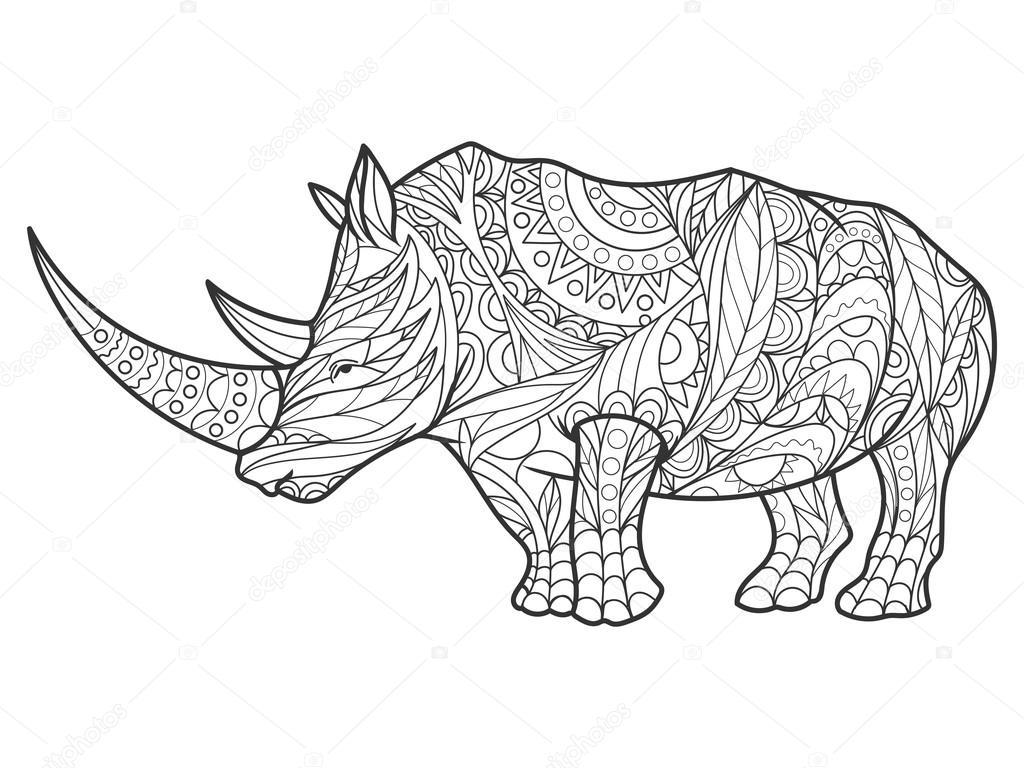 Mandalas Para Colorear Dinosaurios Animales De Leyenda: Rinoceronte Para Colorear Libro De Vectores Adultos