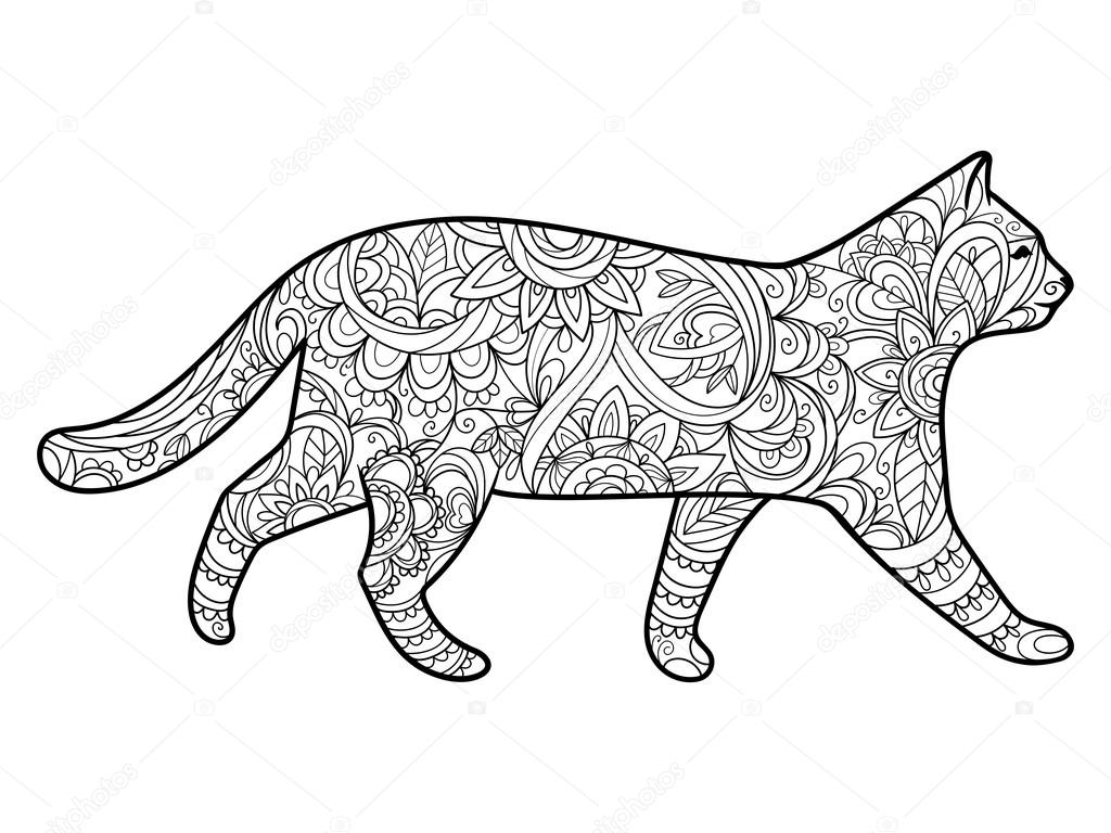 Cat Coloring Book For Adults Vector Stock Vector