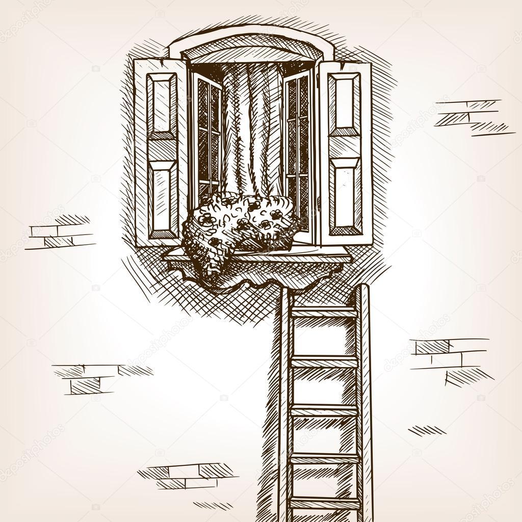 Offenes fenster gezeichnet  öffnen und Leiter hand gezeichnete Skizze Vektor — Stockvektor ...