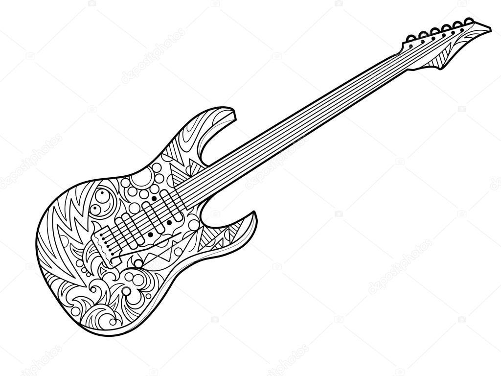 elektrische gitaar coloring boek voor volwassenen vector