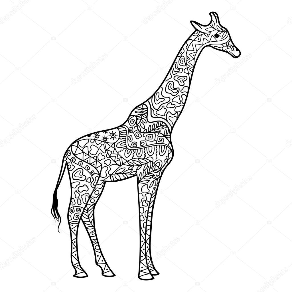 Kleurplaten Voor Volwassenen Giraf.Giraffe Kleuren Boek Voor Volwassenen Vector Stockvector