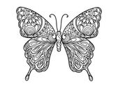 Photo Butterfly coloring book for adults vector