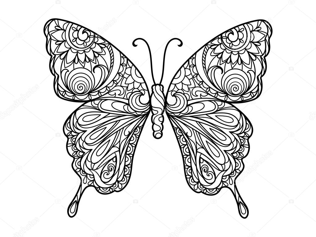 Butterfly Coloring Book For Adults Vector Illustration Anti Stress Adult Zentangle Style Black And White Lines