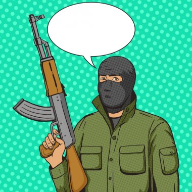 Terrorist man with weapon pop art style vector