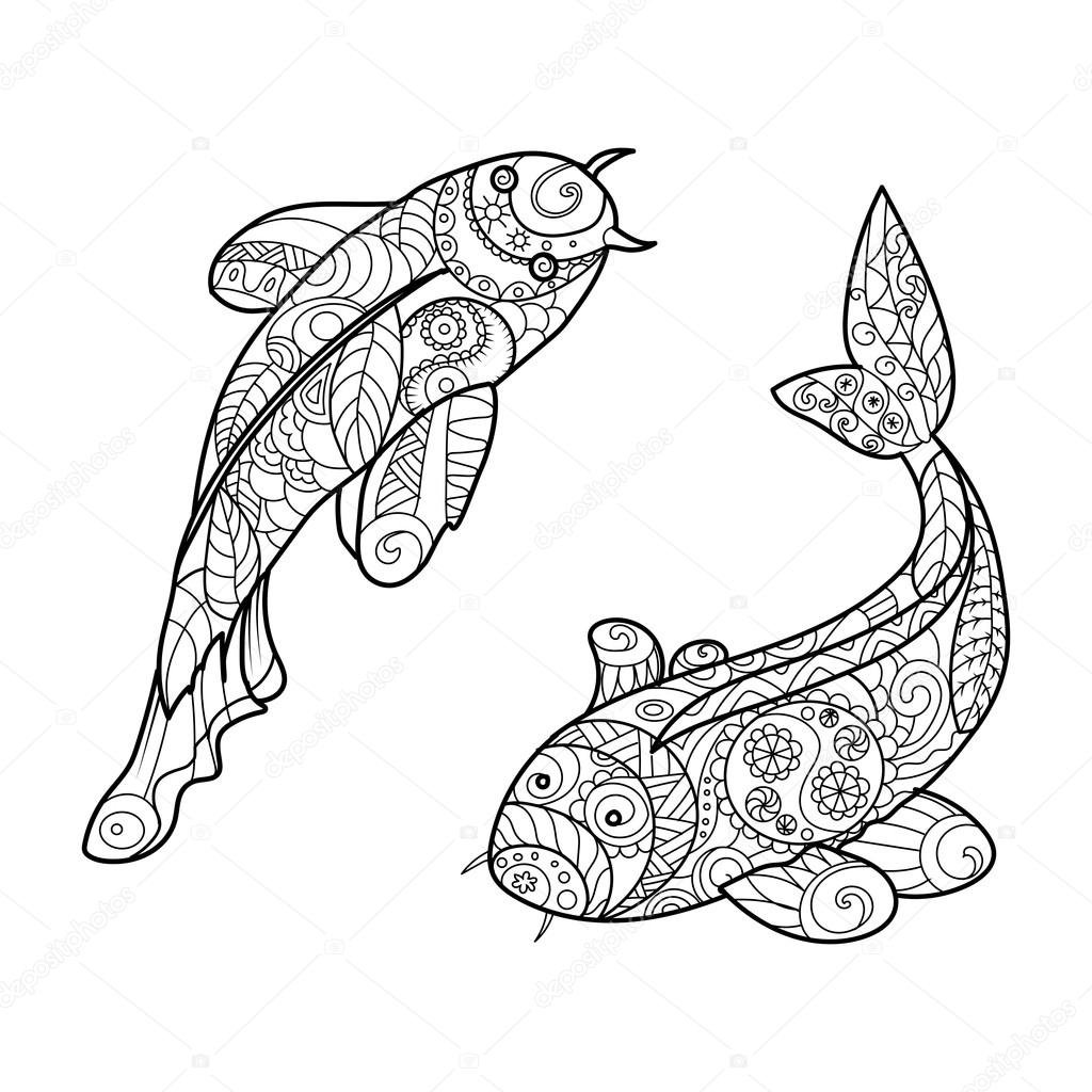 coloriages vecteur d 39 adultes pour des poissons de carpe koi image vectorielle alexanderpokusay. Black Bedroom Furniture Sets. Home Design Ideas